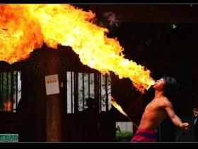 实拍:厦门园博苑佤族小伙子惊险喷火表演