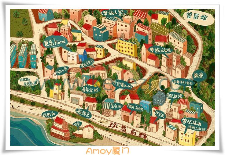 厦门手绘地图、厦门鼓浪屿手绘地图(2)