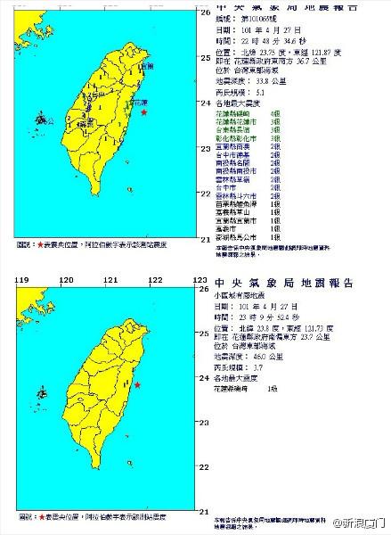 4月27日台湾5.1级地震·厦门有震感