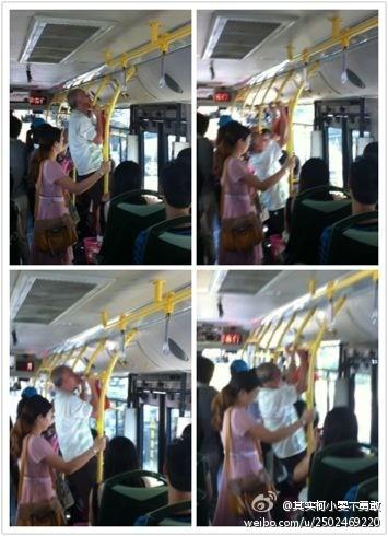 厦门强悍阿伯,公交车上做引体向上