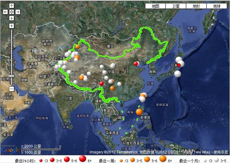 今天凌晨台湾、日本、天津唐山发生地震