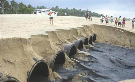 救救厦门的大海,滚滚黑水喷入椰风寨海域