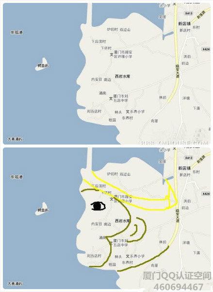 """碉堡了! 翔安湾区卫星地图酷似""""孙悟空"""""""