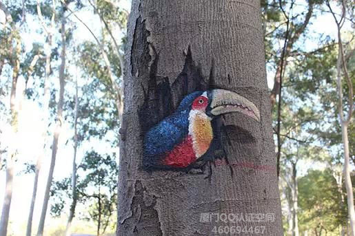 """小朋友,忠仑公园的树上有秘密哦,3D画""""么么哒"""""""