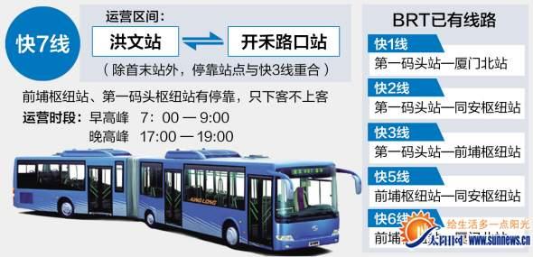 厦门BRT运营路线及时刻表
